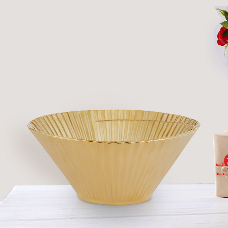 Blake Crinkle Vase Platter Big Ceramic Table Decor in Gold Colour by Living Essence