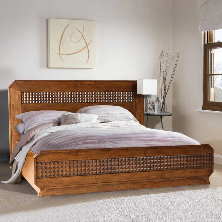 Sterling Solid Wood Hydraulic Storage King Size Bed in Brown Colour by HomeTown