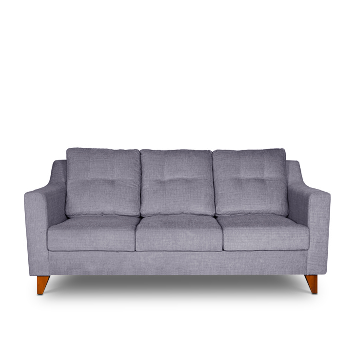 Ravioli Fabric Three Seater sofa in Grey Colour by HomeTown