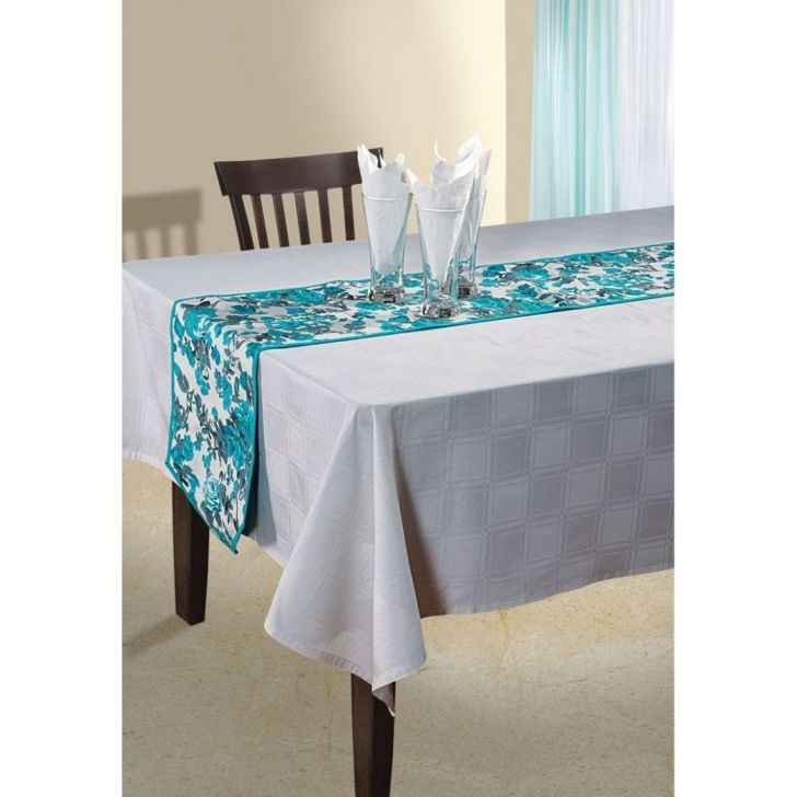 Solid Table Runner In Sky Blue Color By Swayam