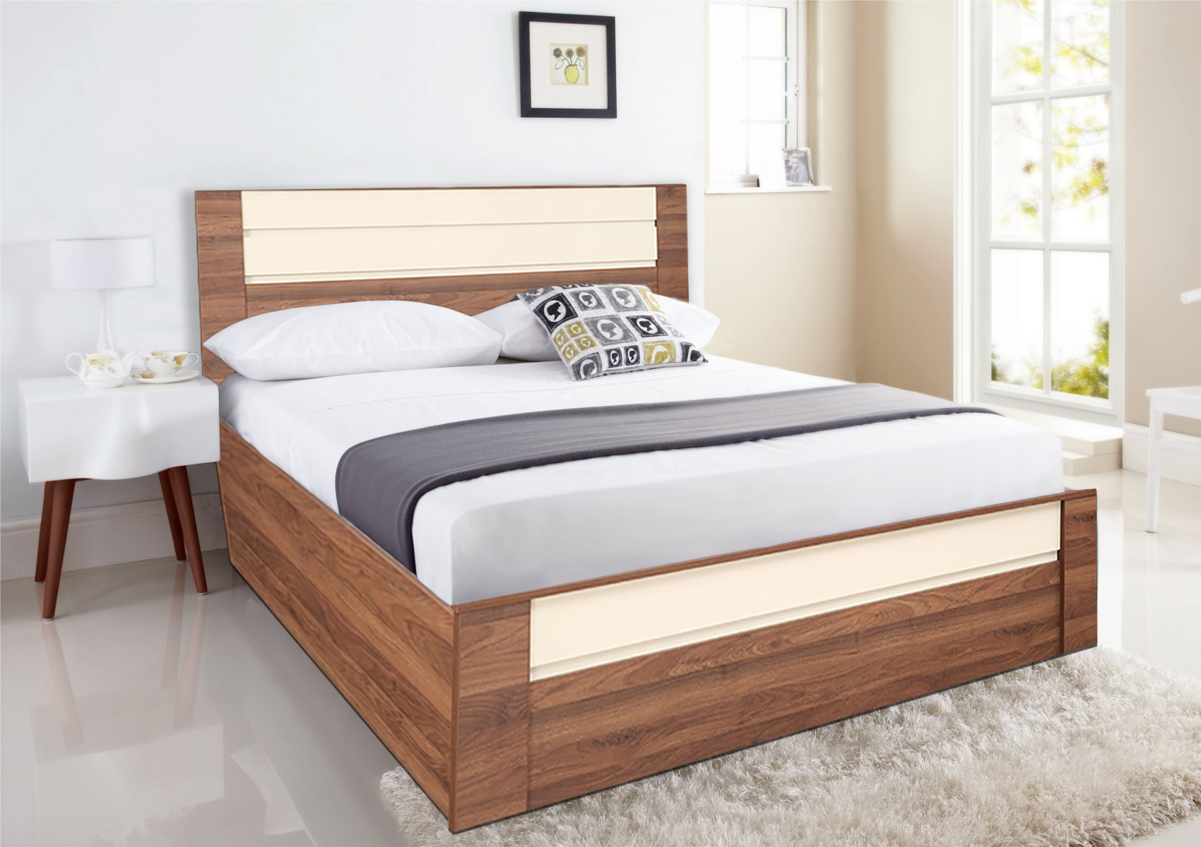 Ambrosia Engineered Wood Hydraulic Storage Queen Size Bed in Wallnut & Off White Colour by HomeTown