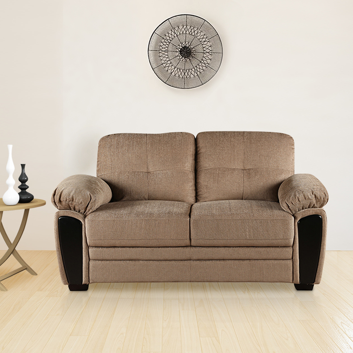 Acho Royale Fabric Two Seater Sofa in Brown Colour by HomeTown