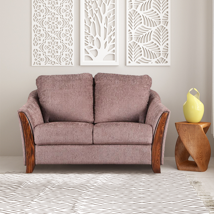 Coleman Fabric Two Seater sofa in Brown Colour by HomeTown