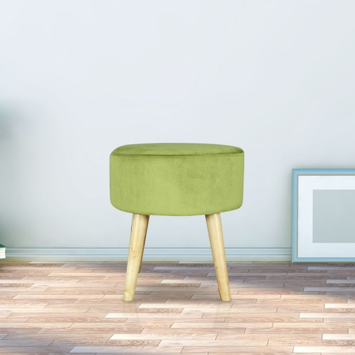 Murf Solid Wood Ottoman in Green Colour by HomeTown