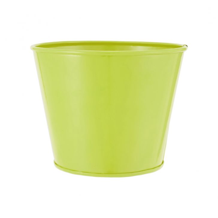 Aria Round Planter Plain Smallall Green Metal Pots & Planters in Green Colour by Living Essence