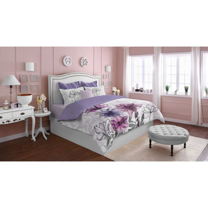 Spaces Epica Purple 400 Tc Cotton Double Bedding Set With 2 Pillow Covers And Sham Covers
