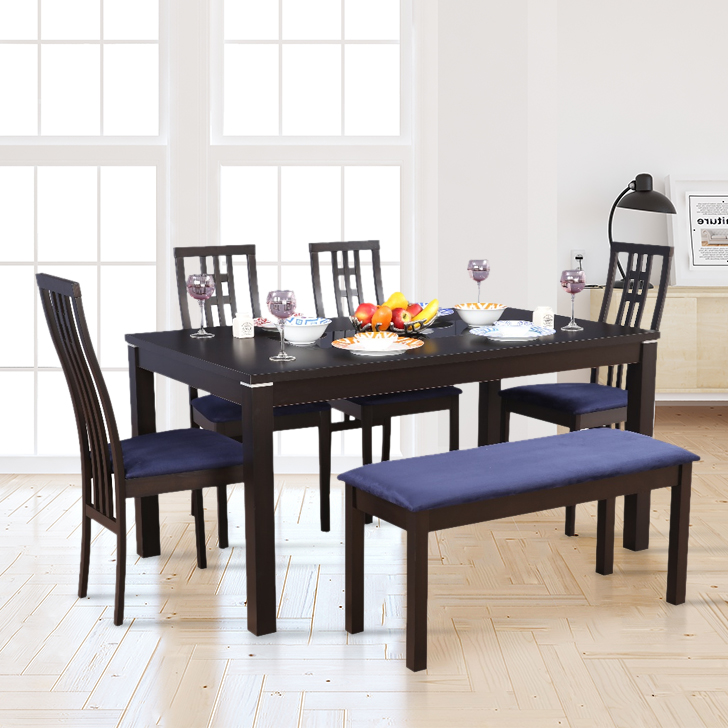 Daiton Rubber Wood Six Seater Dining Set in Expresso Color by HomeTown