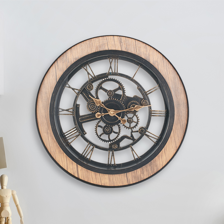Aristo Mechanised Roman With Wood Border Classic Clocks in Brown, Neutrals Colour by Living Essence
