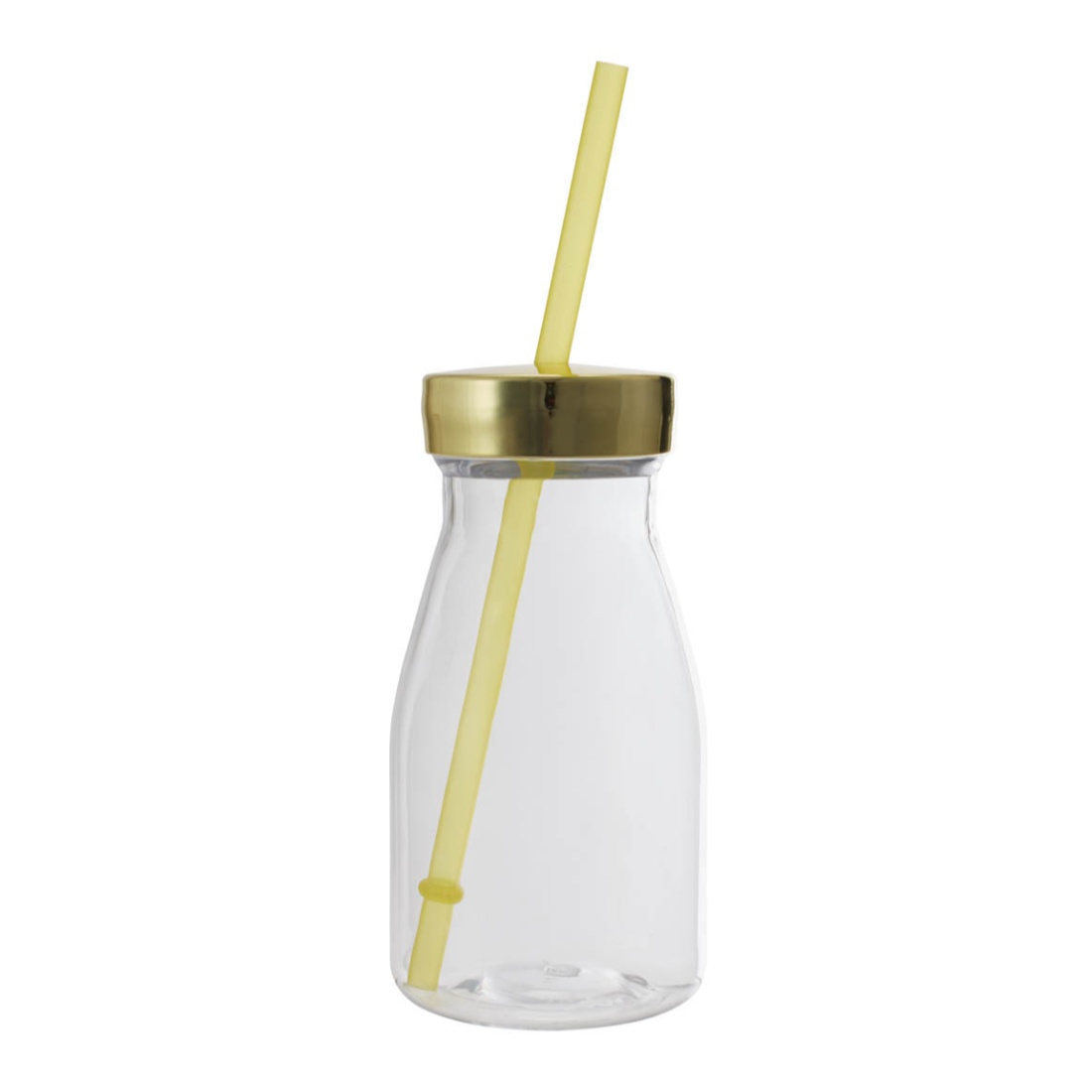 Milk Bottle 350 Ml Plastic Glass Bottles in Transparent Bottle & Green Lid Colour by Living Essence