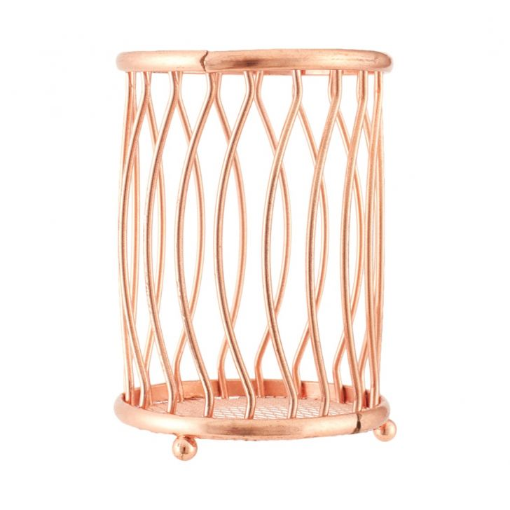 Cutlery Holder Metal Chromeware in Rose Gold Colour by Living Essence