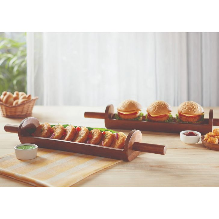 Eat Street Curved Platter Platters in Natural Wood Colour by Songbird