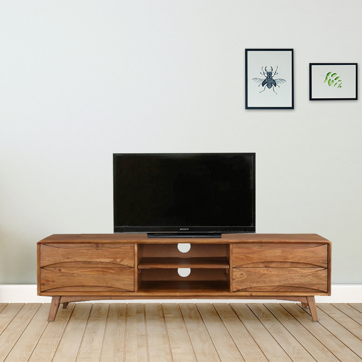 Nordland Acacia Wood TV Unit in Walnut Brown Colour by HomeTown