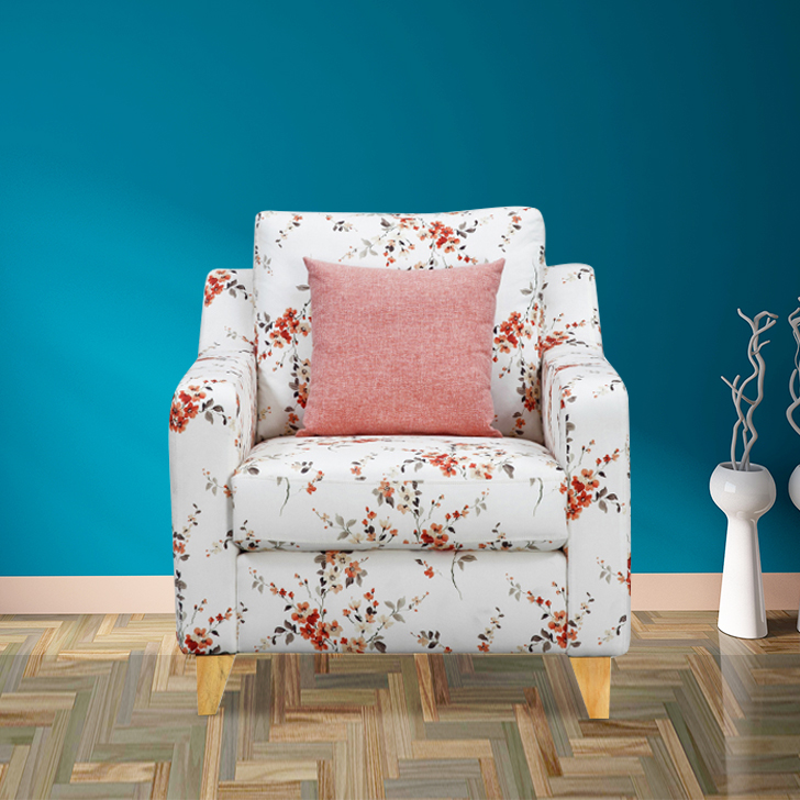 Pompeii Fabric Single Seater Sofa in Coral Colour by HomeTown