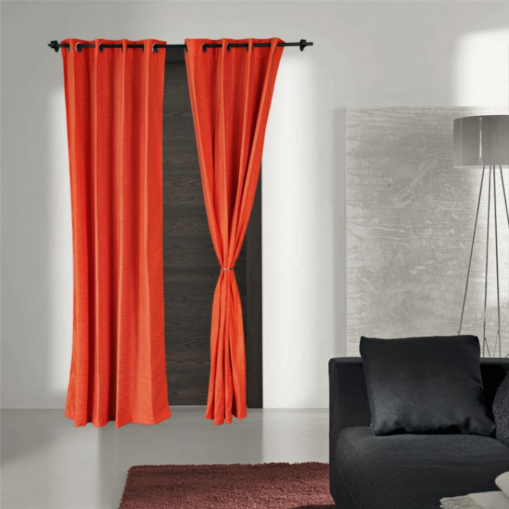 Verona Polyester Door Curtains in Coral Colour by Living Essence