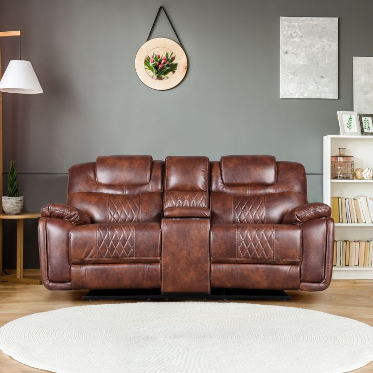 Volga Leatherette Two Seater Recliner in Brown Colour by HomeTown