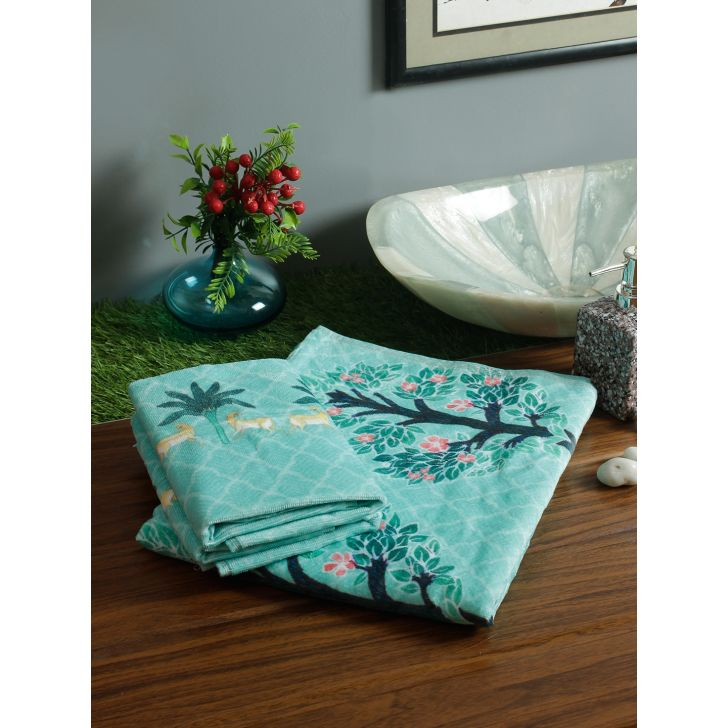 Nora set of 1 Bath & 2 Hand Towels Palace Life Cotton Towel Sets in Teal Colour by Living Essence