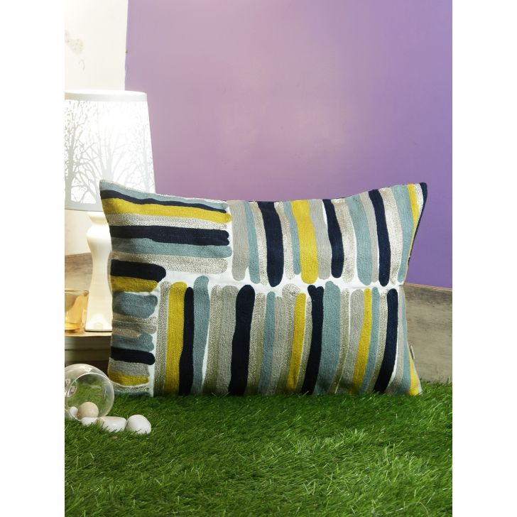 Paint Brush Cotton Cushion Covers in Multi Colour by Living Essence