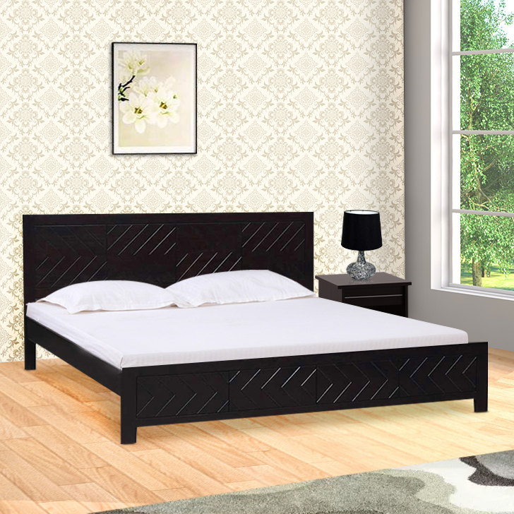 Tuscany Acacia Wood King Bed in Dark Walnut Colour by HomeTown