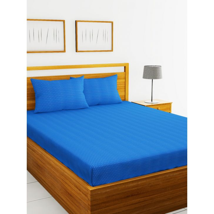 Mt Fit Cotton King Fitted Bedsheet 274X274 CM in Blue Colour