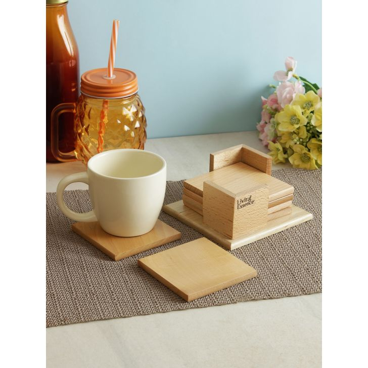 Wood Coaster in Brown Colour by Living Essence