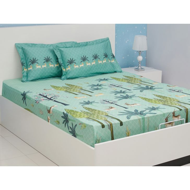 Nora Cotton Double Bedsheets in Teal Colour by Living Essence