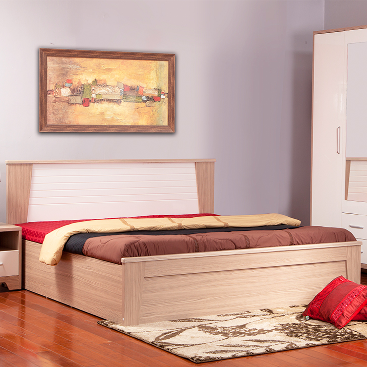 Ambra Engineered Wood Box Storage King Size Bed in White And Larch Colour by HomeTown