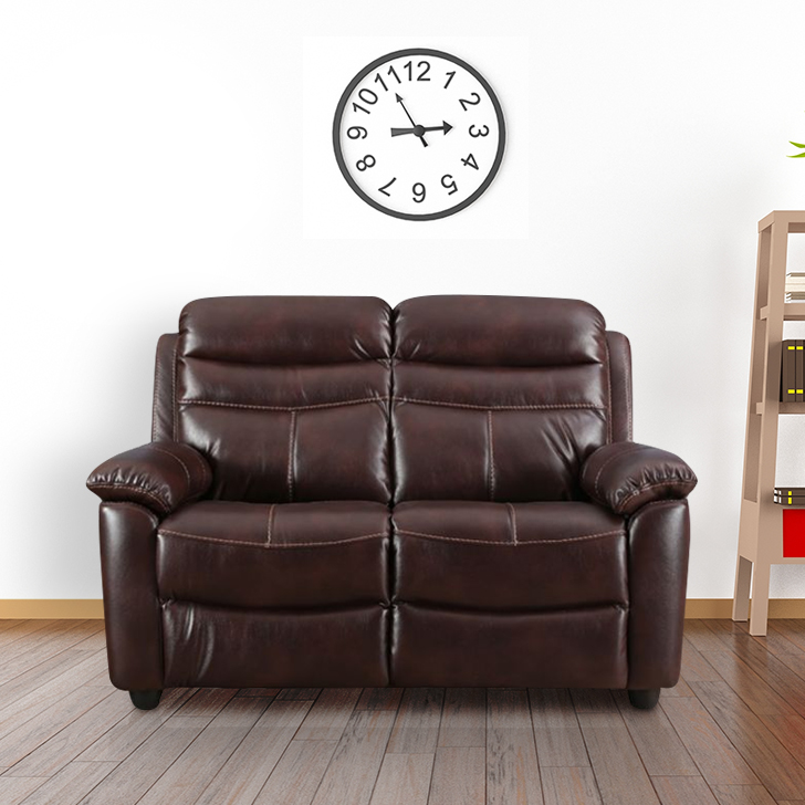 Logan Leather Fabric Two Seater Recliner in Dark Brown Colour by HomeTown