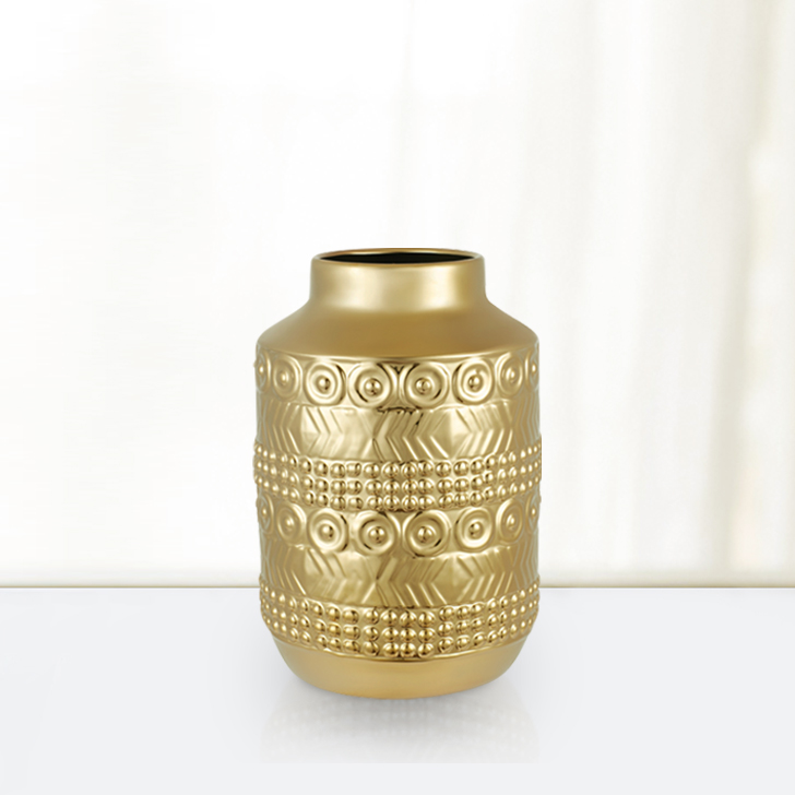 Blake Egyptian Cylinder Vase Small 23Cm Ceramic Vases in Gold Colour by Living Essence