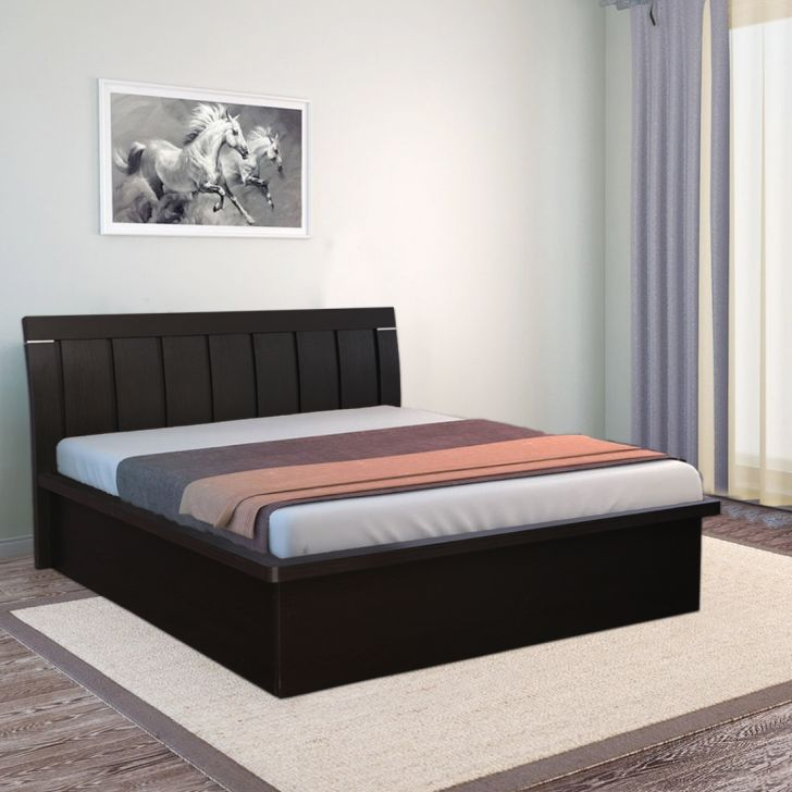 Mozart Engineered Wood Hydraulic Storage King Size Bed in Wenge Colour by HomeTown