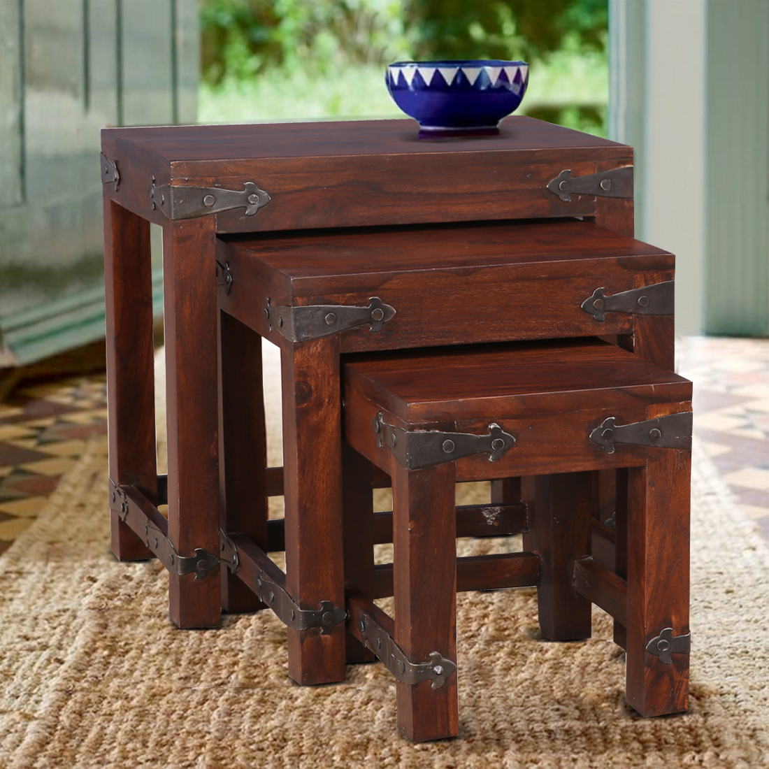 Tudor Solid Wood Nesting Table in Brown Colour by HomeTown