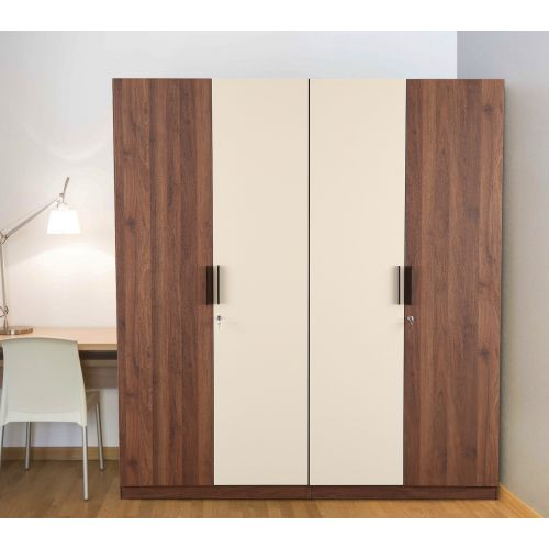 52fd20d58 Ambrosia Engineered Wood Four Door Wardrobe in Wallnut   Off White Colour  by HomeTown