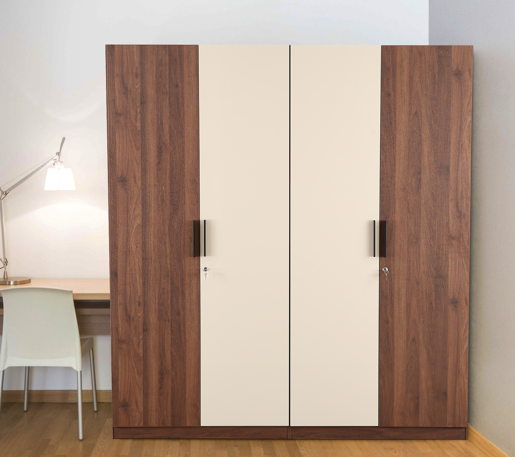 Ambrosia Engineered Wood Four Door Wardrobe in Wallnut & Off White Colour by HomeTown