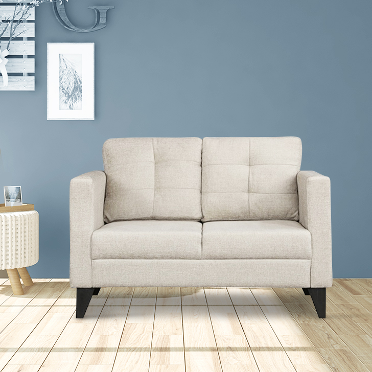 Belgrade Fabric Two Seater sofa in Ivory Colour by HomeTown