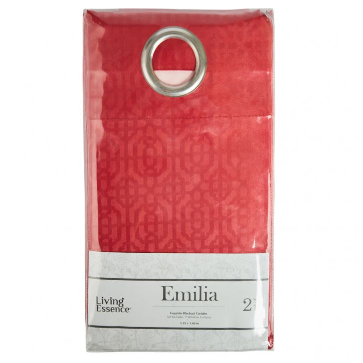 Emilia Jacquard set of 2 Polyester Window Curtains in Red Colour by Living Essence