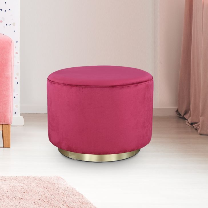 Popcorn Fabric Ottoman in Maroon Colour by HomeTown