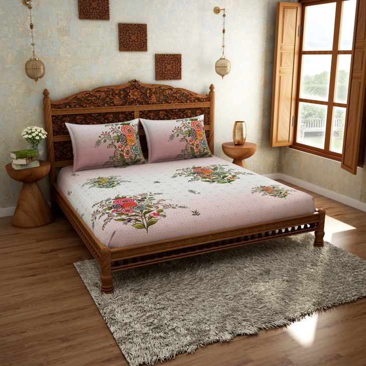Spaces Rangana Pink 210 Tc Cotton Printed Large Bed Sheet With 2 Pillow Covers
