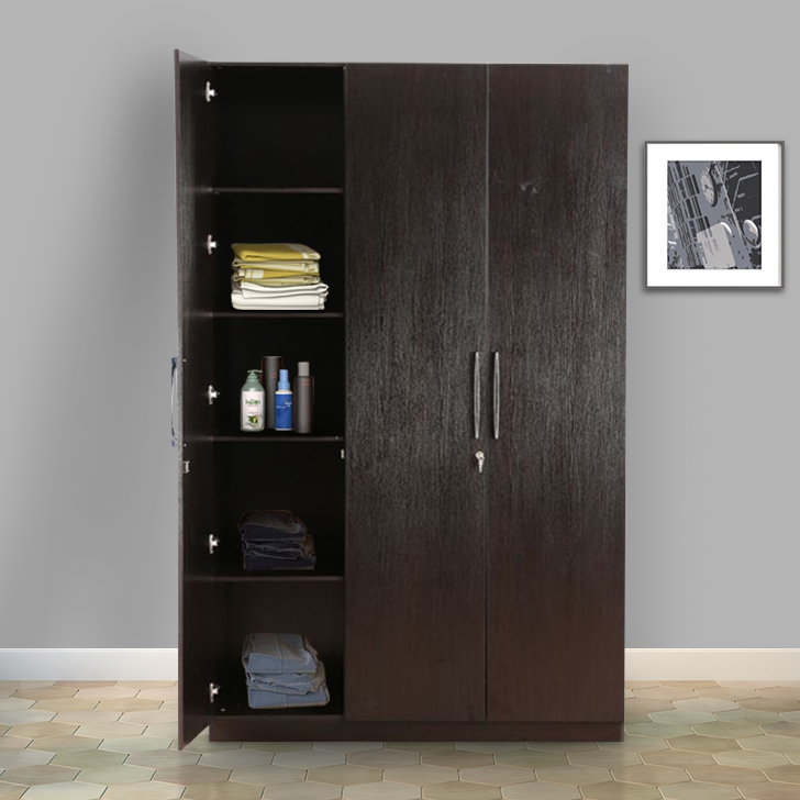 Mozart Engineered Wood Three Door Wardrobe in Wenge Colour by HomeTown