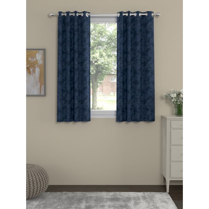Jacquard Window Curtain In Dark Blue Color By Rosara Home