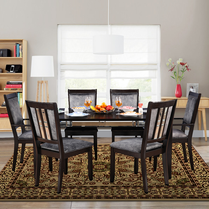 Madrid Solid Wood Six Seater Dining Set in Cappucino Colour by HomeTown