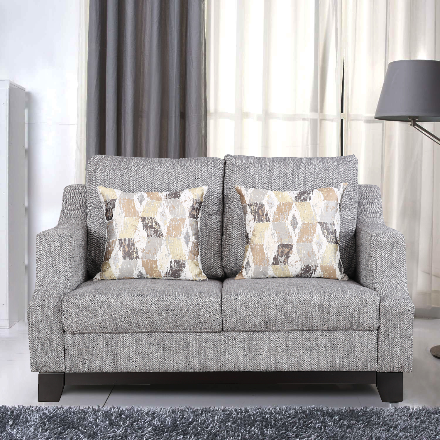 Tremblay Fabric Two Seater sofa in Grey Colour by HomeTown