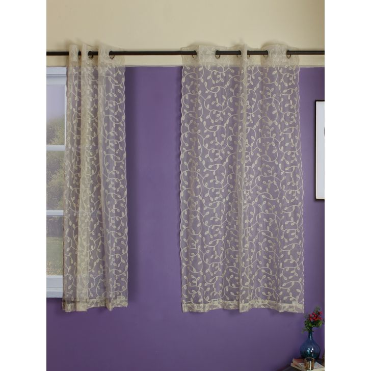 Set of 2 Amour Embroidered Window Polyester Sheer Curtains in Off White Colour by Living Essence