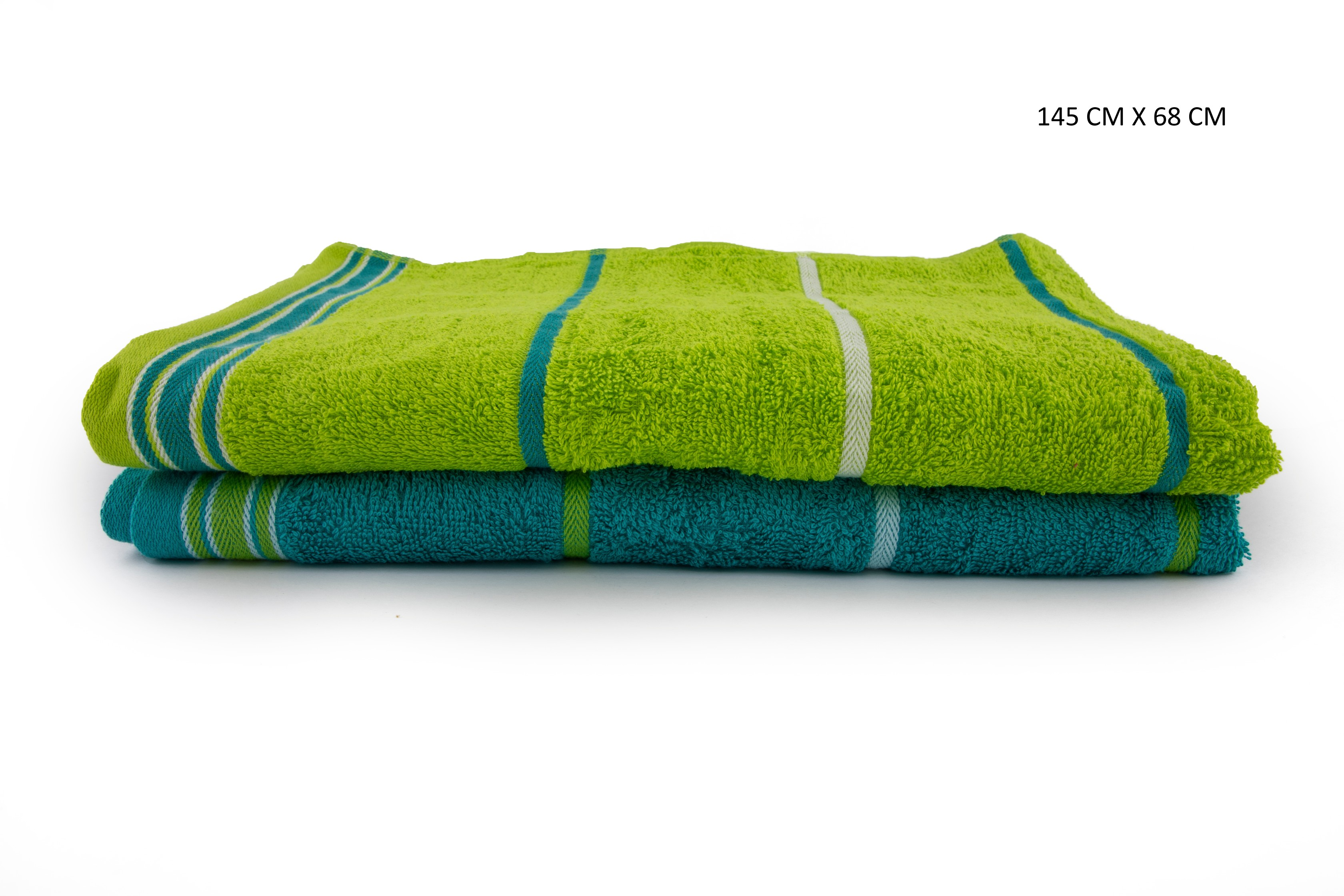 Emilia Bath Towels Set Of 2 Cotton Bath Towels in Teal & Lime Colour by HomeTown