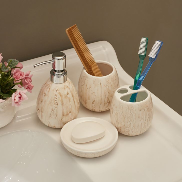 Set of 4 Pieces Ceramic Bath Accessories in Multi Colour by Living Essence