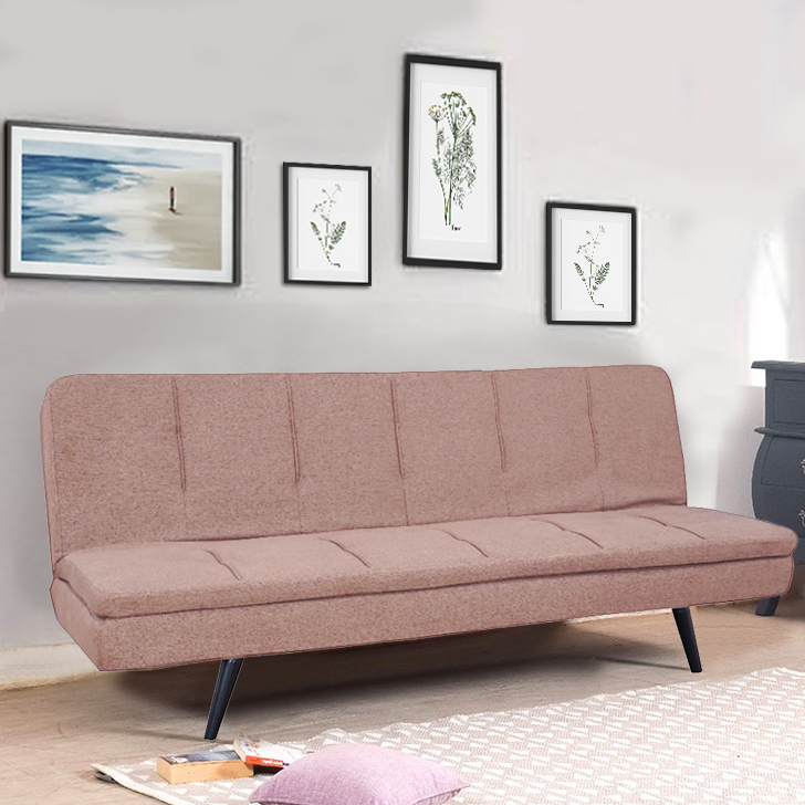 Arthur Fabric Sofa Cum Bed in Beige Colour by HomeTown