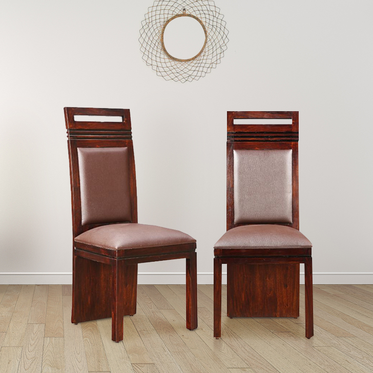 Cleo Solid Wood Dining Chair Set of Two in Nut Brown Colour by HomeTown