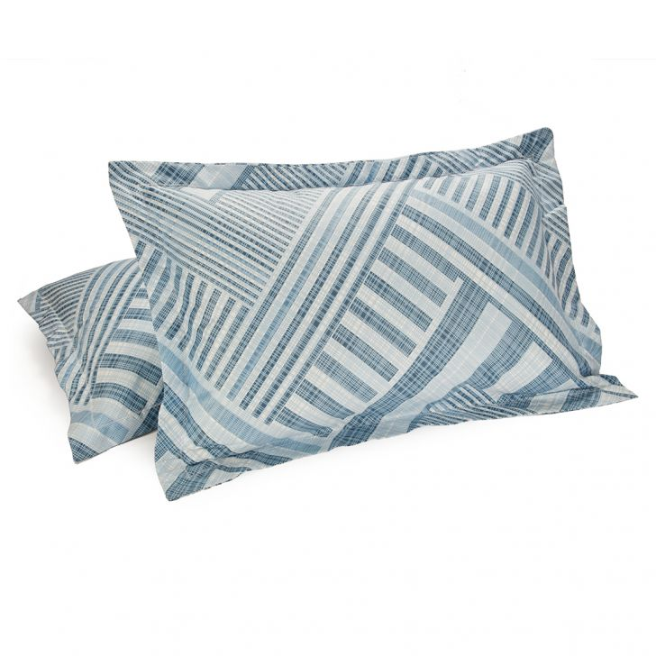 Set of 2 Pillow Cover Amour Geometric Blue Cotton Pillow Covers in Cotton Colour by Living Essence