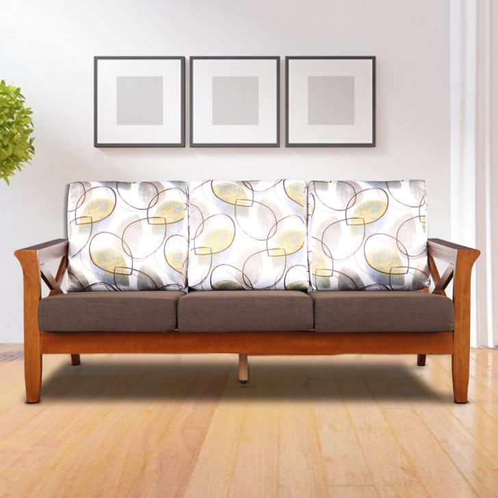 Aldrich Solid Wood Three Seater Sofa in Printed Brown Colour by HomeTown