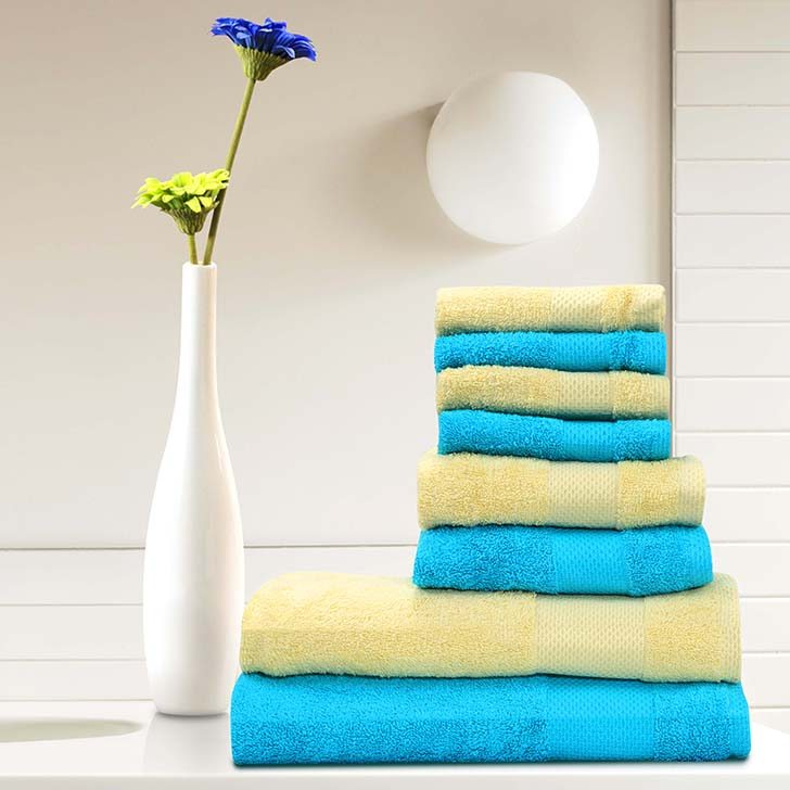 Tangerine Cotton Towel Blue And Yellow 8 Pcs