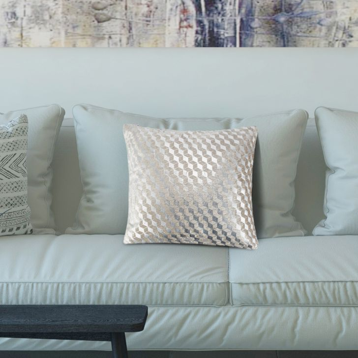 3D Grid Cotton Cushion Covers in Grey Colour by Living Essence