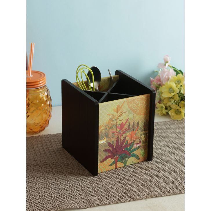 Wood Spoon Holder in Multi Colour by Living Essence